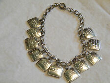 Collectible Clasp Bracelet Silver Tone Charms Our Father  Religous UNIQUE