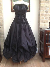 WHITBY GOTH STEAMPUNK VICTORIAN STYLE LONG BLACK POLYSILK SKIRT FREESIZE (7522)