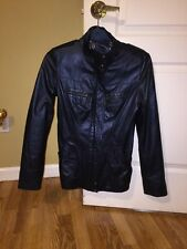 Authentic Roberto Cavalli Genuine Leather Jacket Metallic Bomber Size S
