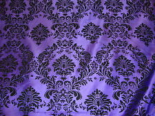 "15 Yards Purple Black  Flocking Damask Taffeta 3D Fabric 58"" Flocked Velvet"
