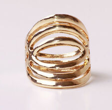 UNIQUE ROCK STYLE GOLD TONE MASSIVE METAL RING PARTY STYLE UK SELLER (CL25)