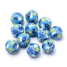 Packet of 10 x Pale Blue/Mixed Polymer Clay 15mm Round Beads HA24150