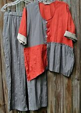 2 Pc.Tara Vao Lagenlook Pleats Taupe Pants XL/Big Tunic Asymmetric Orange Top-S