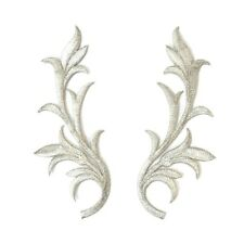 Pair Silver iron On Embroidered Applique #77 Tutu Dance Costume Trim Decoration