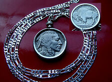 "Extremely Fine++  1936 BUFFALO NICKEL Bezel on a 30"" 925 Sterling Silver Chain"