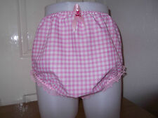 ADULT BABY~SISSY~MAIDS~FETISH~ GINGHAM & LACE PANTS~NAPPY~DIAPER COVER