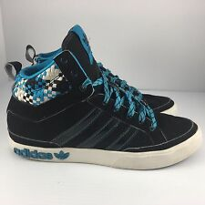 Adidas Originals Top Court Hi Women US 6.5 Blue + Black Leather Basketball Shoes
