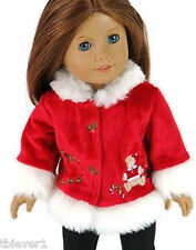 """Red Christmas Coat with Teddy Bear Accent fits 18"""" American Girl Doll Clothes"""