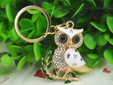 TR048 White Owl Keyring Rhinestone Crystal Charm Pendant Key Bag Chain Gift