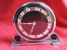 "VINTAGE ART DECO LUX MACHINE AGE CHROME WIND UP CLOCK ""RUNS GOOD"""