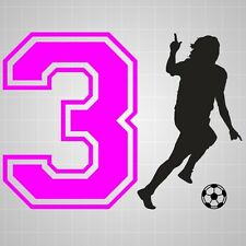 Soccer Girl vinyl room decal,Soccer silhouette girl number wall room sticker