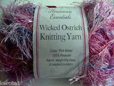 Pink Mixed Wicked Ostrich Knitting Yarn,  Approx 50g