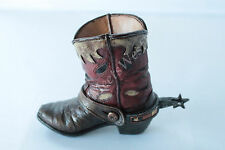 Mini Western Cowboy Cowgirl Rustic Tooled Boot Vase Toothpick Pen Holder