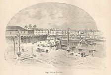 A5811 Cadice - Veduta - Xilografia - Stampa Antica del 1895 - Engraving