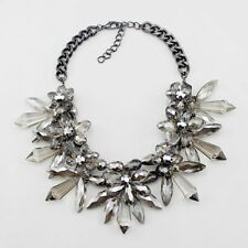 NEW ZARA BEAUTIFUL ACRYLIC CRYSTAL BEADS SMOKEY LIGHT GREY FLOWERS NECKLACE NEW