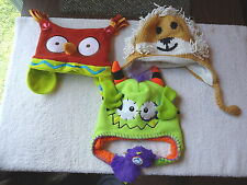"Lot Of 3 Animal Type Of Beanie Hats "" GREAT COLLECTIBLE USEABLE LOT """