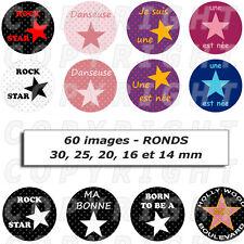 60 Images digitales pour bijoux cabochon étoiles noir rouge rose blanches - ROND
