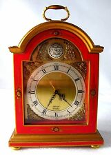 Rare Elliot of London Mantle Clock Red Chinoiserie Style with Brass Cherubs