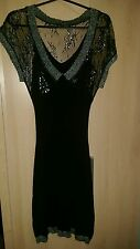 Morgan de Toi Evening Bodycon Dress Size S 8-10 Black Silver Lace Stretchable
