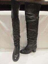 Cuero Negro sin marca encima de la rodilla tira de Botas Uk 5 EU 38 (639)