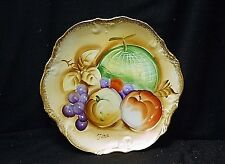 Old Vintage Hand Painted Decorative Cabinet Plate Fruit w Gold Trim Signed Tera