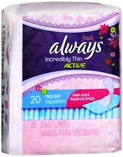 Always Thin Pantiliners Regular Clean Fresh Scent 20 Each (Pack of 5)