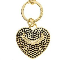 NWT JUICY COUTURE ONYX  PAVE CRYSTAL HEART GOLD KEY CHAIN RING KEY FOB YSRU2442