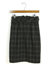 Trina Turk Sz 6 M Charcoal Gray Plaid Belted Straight/Pencil Suit Skirt Career