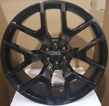 "22"" GMC Sierra Replica Wheels Gloss Black Rims Silverado Yukon Denali Chevy LTZ"