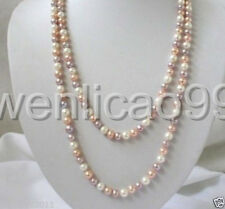 7-8mm white pink purple Multicolor freshwater Cultured pearls necklace 36""