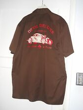 Dickies brown red Devil Deluxe Clothing Car Auto Evil Shirt Size L, 35% Cotton