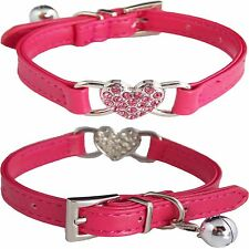 Hot Pink Heart Charm Leather Bling Crystal BELL Collar for Cats Kittens SMALL