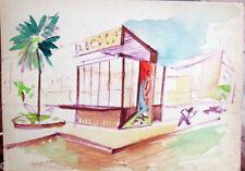Acquerello '900 su carta Watercolor Architettura futurista cubista razionale-17