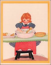 Girl Washing Dishes by Fern Bisel Peat vintage print authentic 1934