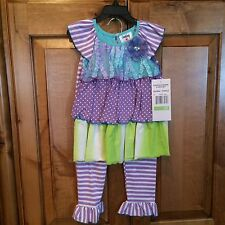 NWT COUNTING DAISYS PURPLE/GREEN RUFFLES POLKA/STRIPES/TIE DYE SET SIZE 4T
