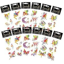 6 x Girls Kids Childrens Fairy Glitter Tattoos Transfers Party Loot Bag Fillers