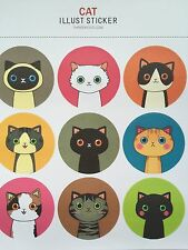 18 Stickers Cute Black Korean Cat & Drinky Doll Scrapbook Diary Craft Stationery