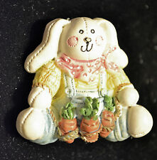 """UNBRANDED - RESIN BUNNY FARMER OVERALLS AND CARROTS BROOCH PIN - 1 1/2"""" X 1 3/4"""""""