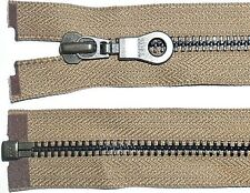 "YKK ZIP DARK BEIGE/TAN 26""/66CM METAL BLACK TEETH OPEN END HEAVY DUTY FREE P&P"
