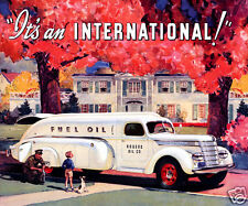 1939 INTERNATIONAL HARVESTER Oil Truck, WHITE, Refrigerator Magnet