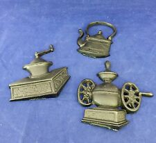 3 Vtg Cast Iron Kitchen Wall Plaques Coffee Grinder Tea Pot, NIB