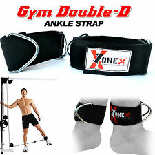 1X Gym Ankle Double DRing Straps Multi Cable Attachment Leg Pulley Lifting WEIGT
