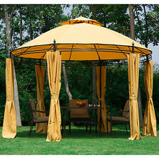 New Gazebo Outdoor Patio 11.5' Round Two Double Tier Roof Canopy Tent w/Shelter