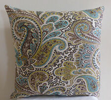 Paisley Brown, Kiwi,  Turquoise 18x18 inch DECORATIVE THROW PILLOW CASE / Cover
