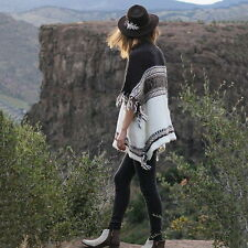 New FREE PEOPLE Anthropologie $168 Labyrinth Pattern Poncho Sweater Coat - S / M