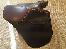ENGLISH TRAINING SADDLE, HORSE RIDING, ALL LEATHER,USED,GC, SZ 18""