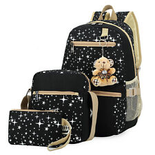 Hot Teddy Bear Womens Back To School Shoulder Bags Kids Canvas Backpack Bookbag