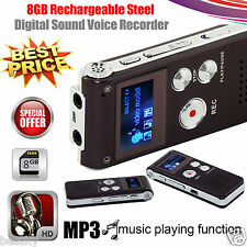 US 8GB Digital Audio Voice Recorder Rechargeable Dictaphone Telephone MP3 Player