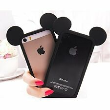 For iPhone 4 4S SOFT SILICONE RUBBER TPU SKIN CASE COVER BLACK MICKEY MOUSE EARS