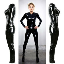 Black Catwoman False Leather Wetlook Jumpsuit Catsuit Clubwear Fancy Dress 1253